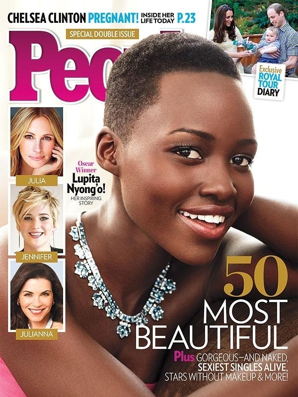 23.abr.2014 - Lupita Nyong'o é eleita a mulher mais bonita do mundo pela