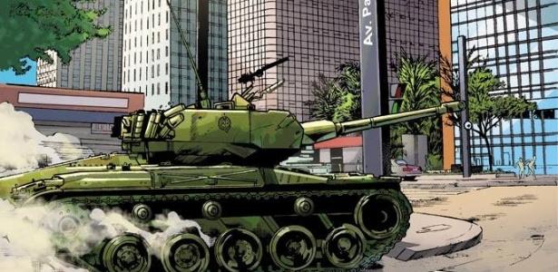 """Imagem da HQ """"Pátria Armada"""" que será lançada em junho. História traz equipes de super-heróis em um ano 1994 alternativo, com o Brasil dividido entre uma guerra civil de três décadas - Divulgação"""