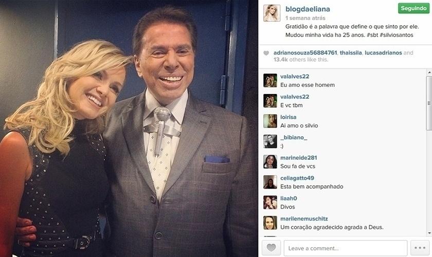15.abr.2014 - Eliana tira foto com Silvio Santos e faz um agradecimento ao dono do SBT, emissora na qual iniciou sua carreira artística.