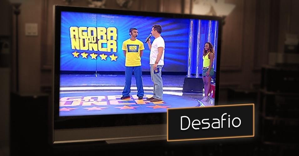 """""""Agora ou Nunca"""", o quadro exibido no """"Caldeirão do Huck"""", na Globo, tem como objetivo desafiar anônimos no palco e oferecer para eles prêmios em dinheiro. Jogar bola, dançar, pular, quizzes estão na lista dos desafios"""