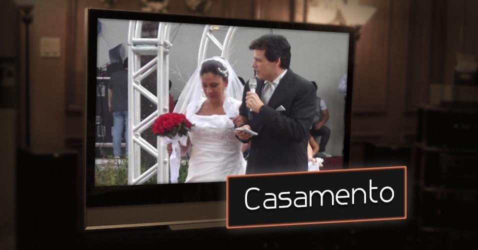 """""""Casamento do Domingo Legal"""", Celso Portiolli proporciona casamento com direito a véu e grinalda para casais que não têm condições de bancar uma festa, mas querem se casar. A cerimônia acontece ao vivo na área externa do SBT"""