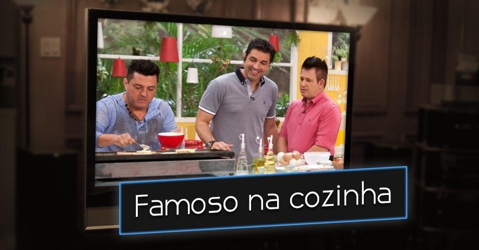 """Levar um famoso para cozinhar e exibir na televisão. Sim, você também já viu isso. A dupla sertaneja Bruno & Marrone, por exemplo, já participou do quadro """"Bancando o Chef"""", no """"Hoje em Dia"""", da Record, ao lado do apresentador e chef Edu Guedes"""