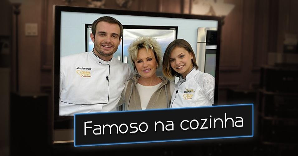 """Mais uma vez, um famoso na cozinha. No """"Super Chef"""", reality culinário entre famosos exibidos no """"Mais Você"""", da Globo, tinha como objetivo mostrar os dotes de uma celebridade na cozinha e promover um concurso do melhor mestre cuca. Na imagem, Ana Maria Braga com os atores Max Fercondini e Milena Toscano"""