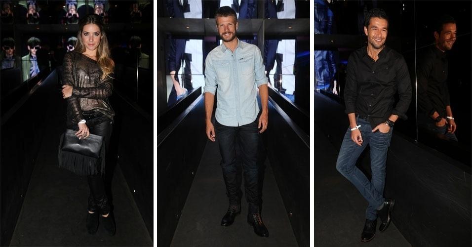 24.abr.2014 - Monique Alfradique, Rodrigo Hilbert e Sergio Marone conferem à chegada de grife holandesa ao Brasil durante festa em um bar de São Paulo