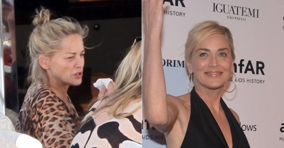 """Eterna musa do filme """"Instinto Selvagem"""", Sharon Stone parecia bem diferente quando foi vista sem maquiagem"""