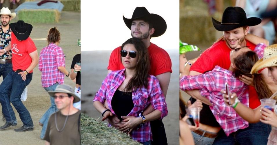 26.abr.2014- Ashton Kutcher e Mila Kunis são flagrados curtindo um festival de música country na Califórnia. Em uma das imagens é possível ver o ator acariciando a barriga da amada, que está grávida de uma menina