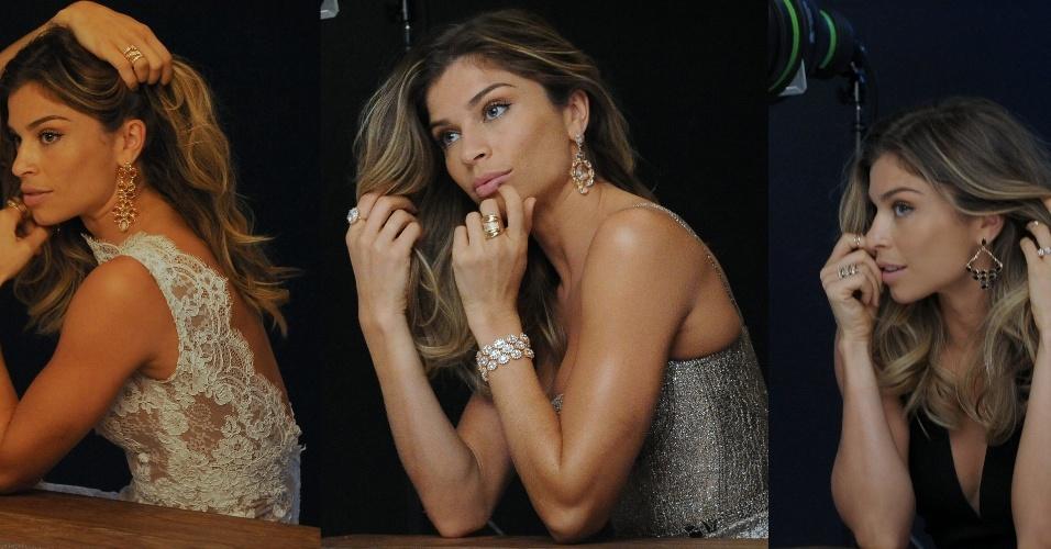 26.abr.2014- Grazi Massafera posa provocante em ensaio para campanha de joias em São Paulo