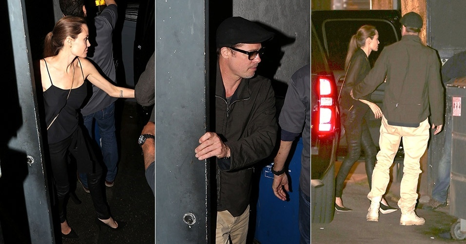 27.abr.2014 - Angelina Jolie e Brad Pitt deixam restaurante japonês em Hollywood após jantarem juntos