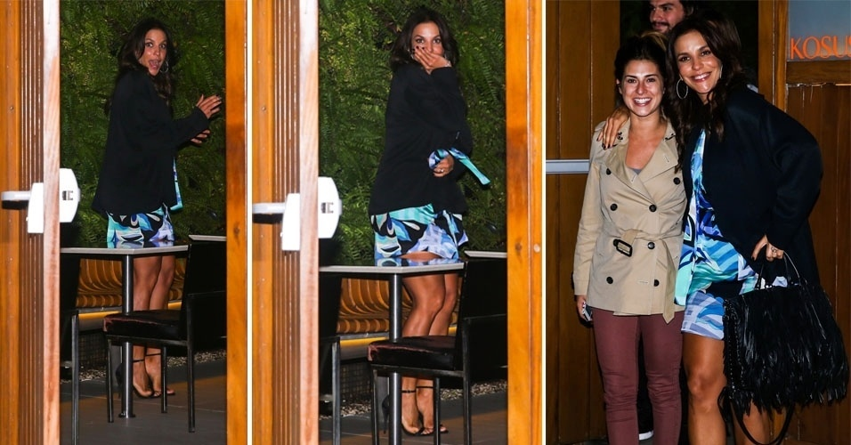 28.abr.2014 - Ivete Sangalo sai para jantar com Fernanda Paes Leme, em São Paulo, e brinca com fotógrafos na noite desta segunda-feira