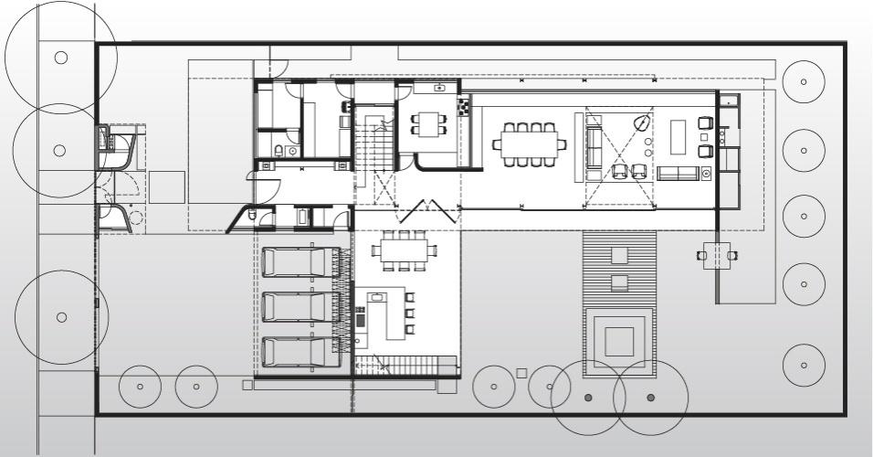 Desenho do pavimento térreo da Casa Planalto, projetada em