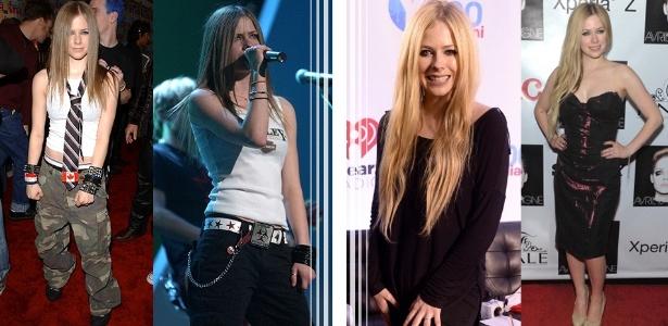"""No início da carreira, Avril Lavigne tinha estilo skatista e """"moleca"""", com o passar dos anos manteve a veia roqueira, mas com elegância - Getty Images"""