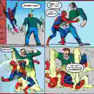HOMEM DE AREIA (The Amazing Spider-Man #4, 1963) - O fugitivo da prisão William Baker, usando o pseudônimo Flint Marko, termina numa praia onde são conduzidos testes nucleares. A radiação contamina suas células que reagem com a areia e o modificam a nível molecular, tornando-se um ser feito de areia. Ele fazia parte do Sexteto Sinistro nos quadrinhos, mas estará ausente da versão para o cinema - Reprodução