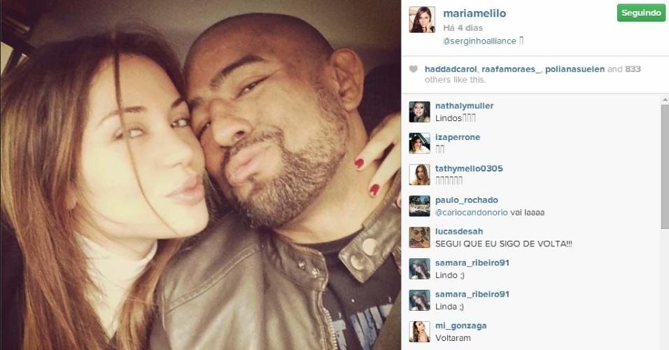 Ex-BBB Maria Melilo reata namoro com o lutador Serginho Moraes