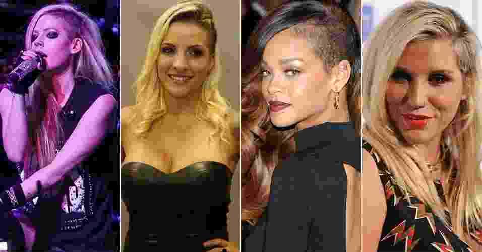 """O corte """"sidecut"""", raspado na lateral da cabeça, virou febre entre famosas. O visual, bastante versátil, possibilita variações de penteados, já que é possível colocar os cabelos para o lado e mostrar a parte raspada ou dividir os fios ao meio para esconder o detalhe. Na foto acima, da esquerda para  direita, Avril Lavigne, a ex-BBB Clara, Rihanna e Kesha exibem o corte descolado do momento. A seguir, navegue pelo álbum, inspire-se nas famosas que adotaram o look moderninho e veja variações dele - Rodrigo Capote/UOL/Foto Rio News/Getty Images"""