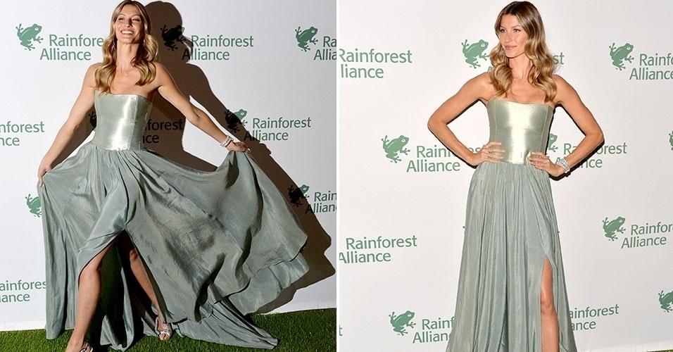 7.mai.2014 - Gisele Bündchen atrai todas as atenções ao chegar no baile de gala da Rainforest Alliance, uma premiação para iniciativas que ajudam o meio ambiente, em Nova York