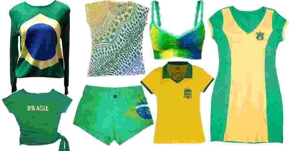 A Copa do Mundo começa no dia 12 de junho e já está na hora de você começar a montar o seu guarda-roupa para torcer pelo Brasil. A seguir, navegue pelo álbum e veja as sugestões de UOL Moda, tanto para homens quanto para mulheres, por até R$ 259 - Divulgação/Fotomontagem UOL