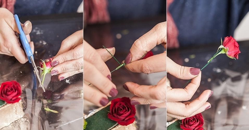Para as espécies que tiverem caule mole, como a rosa spray, faça uma haste com o arame, prendendo-o ao redor do caule da flor, como mostram as fotos,...