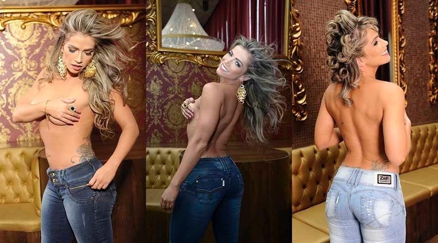 08.mai.2014- Fani Pacheco cobre os seios com as mãos em ensaio provocante para uma campanha de jeans