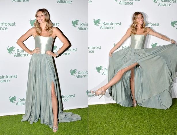 7.mai.2014 - Gisele Bündchen vai a evento em NY com vestido sustentável feito de cânhamo e seda - Getty Images