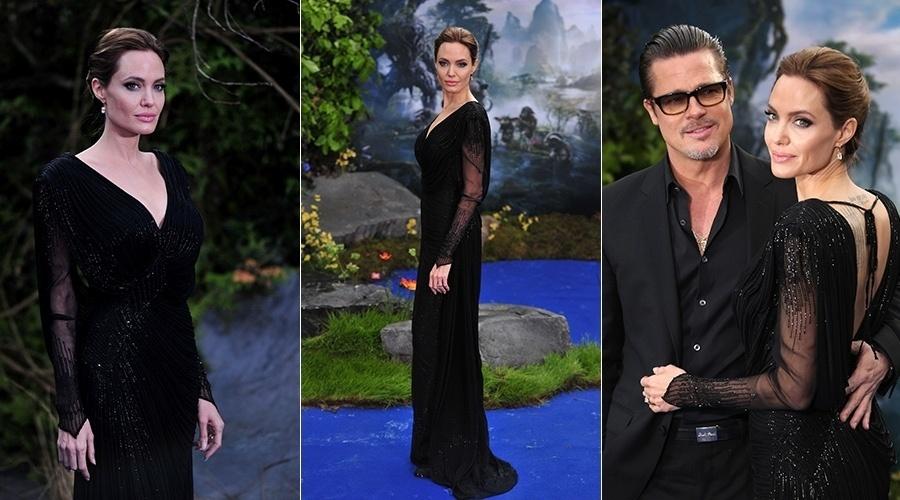 8.mai.2014 - Acompanhada de Brad Pitt, Angelina Jolie prestigiou a pré-estreia do filme