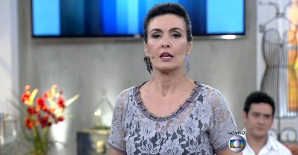 8.mai.2014 - Fátima Bernardes anuncia morte de Jair Rodrigues em seu programa, o