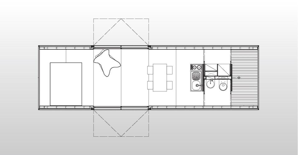 Desenho da casa MiniMod, estruturada em um contêiner e desenvolvida pelo escritório MAPA. A residência móvel é composta por quarto, cozinha com mesa de refeições e banheiro