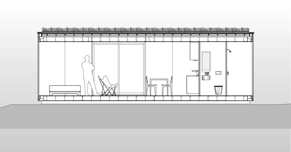 Desenho da casa MiniMod, estruturada em um contêiner e desenvolvida pelo escritório MAPA. A residência móvel é composta por quarto, cozinha com mesa de refeições e banheiro. No telhado, a cobertura vegetal sobre o estrado de madeira
