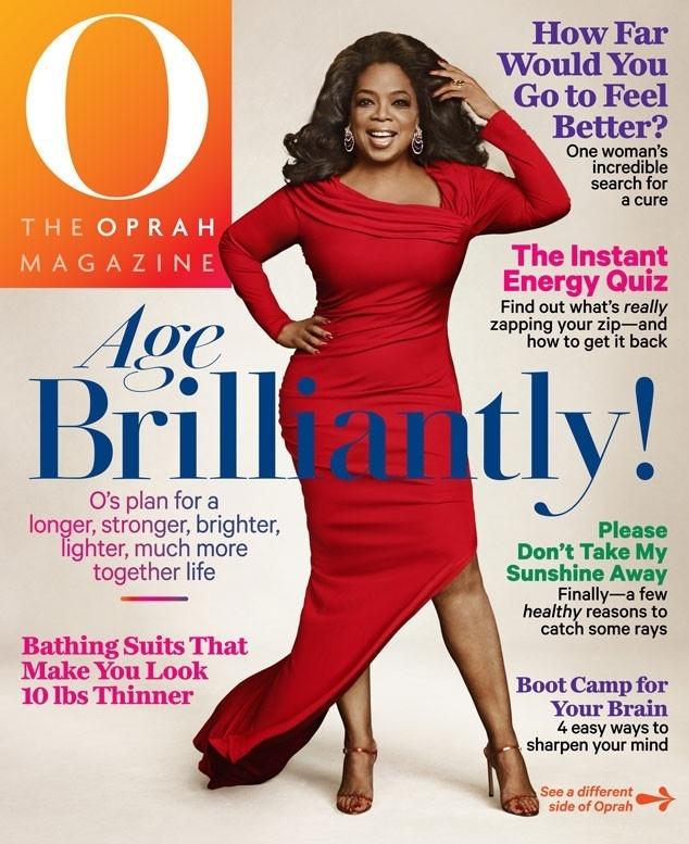 Oprah Winfrey em capa da edição comemorativa de sua revista por seus 60 anos