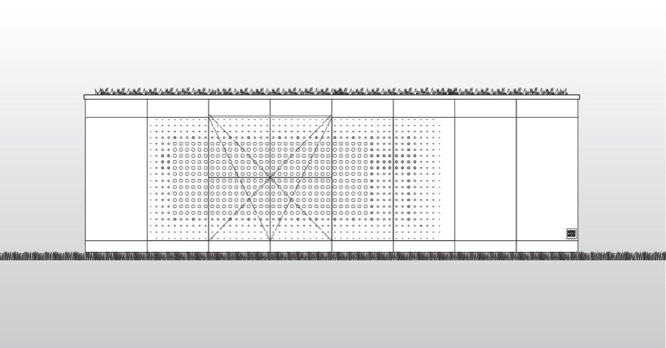 Planta do MiniMod mostra o telhado verde que favorece o controle térmico da casa-contêiner