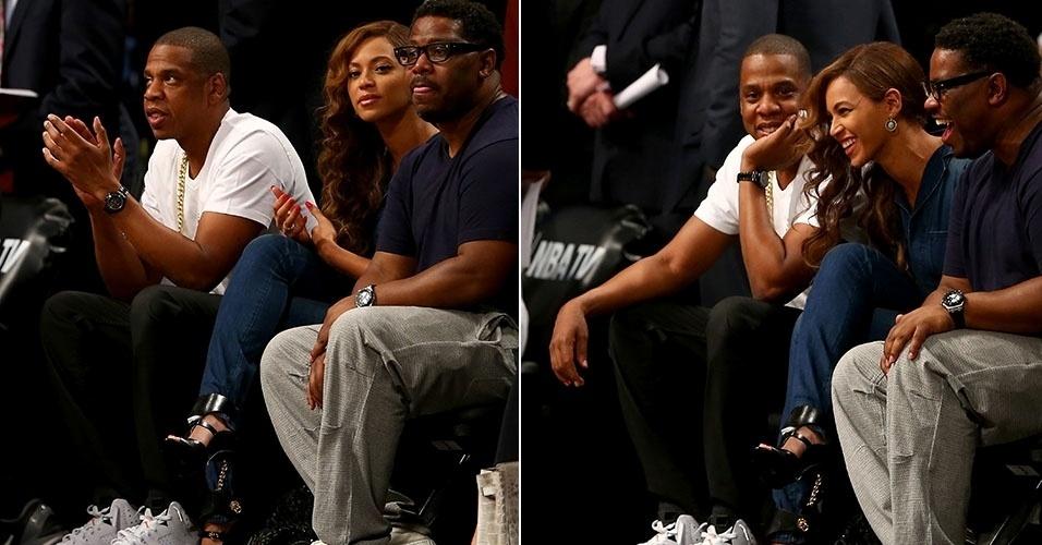12.mai.2014 - Jay Z e Beyoncé assistem juntos ao jogo entre Brooklyn Nets X Miami Heat, na noite desta segunda, em Nova York.