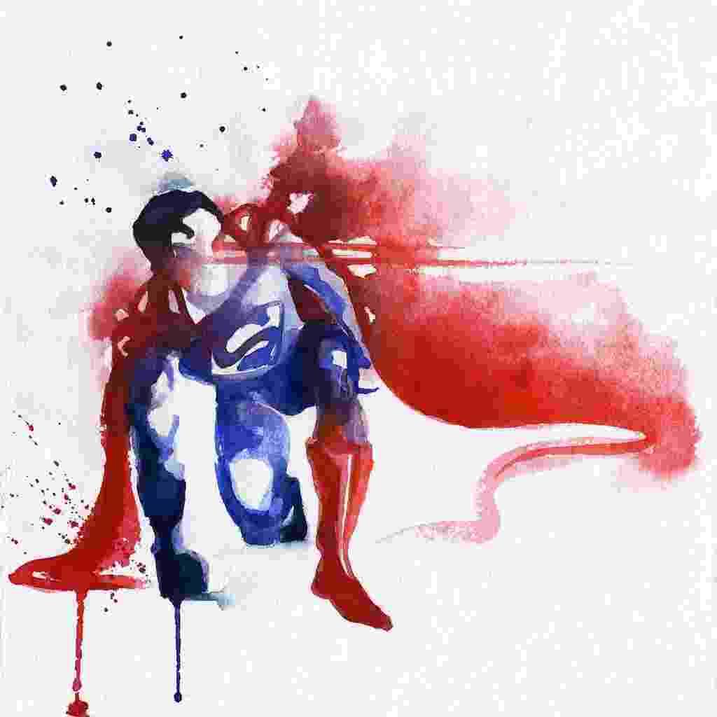 A ilustradora francesa Clémentine Campardou criou uma série de belas ilustrações de super-heróis em aquarela, vendidas no site boutique.blule.fr. Na Imagem, Superman - Divulgação