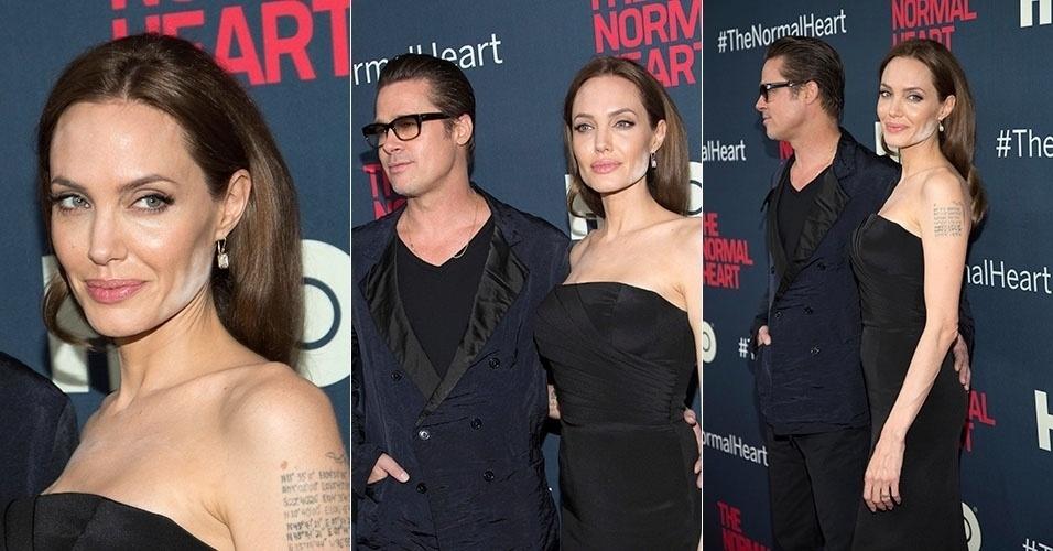 """12.mai.2014 - Angelina Jolie exagerou na maquiagem e deixou o pó facial evidente ao comparecer na pré-estreia do filme """"The Normal Heart"""","""