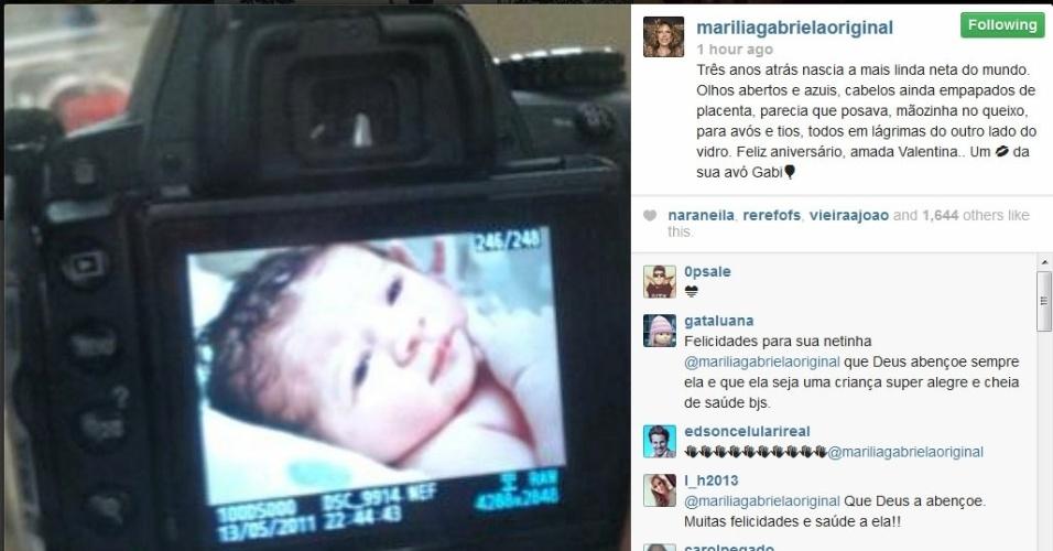 13.mai.2014 - Marília Gabriela homenageia a neta Valentina