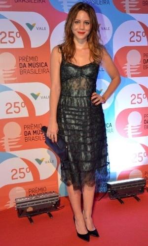 14.mai.2014 - A atriz Leandra Leal aparece mais magra no 25º Prêmio da Música Brasileira, no Rio de Janeiro