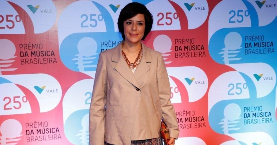 14.mai.2014 - A cantora Fernanda Takai comparece ao 25º Prêmio da Música Brasileira no Rio de Janeiro