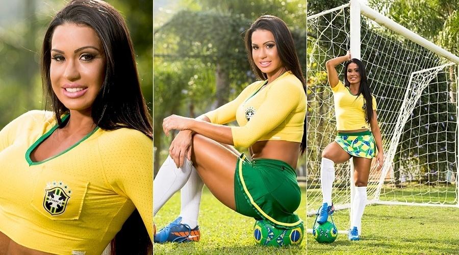 14.mai.2014 - Com o tema da Copa do Mundo, Gracyanne Barbosa fez um ensaio para grife de moda fitness do qual é garota propaganda. As fotos foram na região Sul onde a modelo foi eleita musa da Copa de Santa Catarina