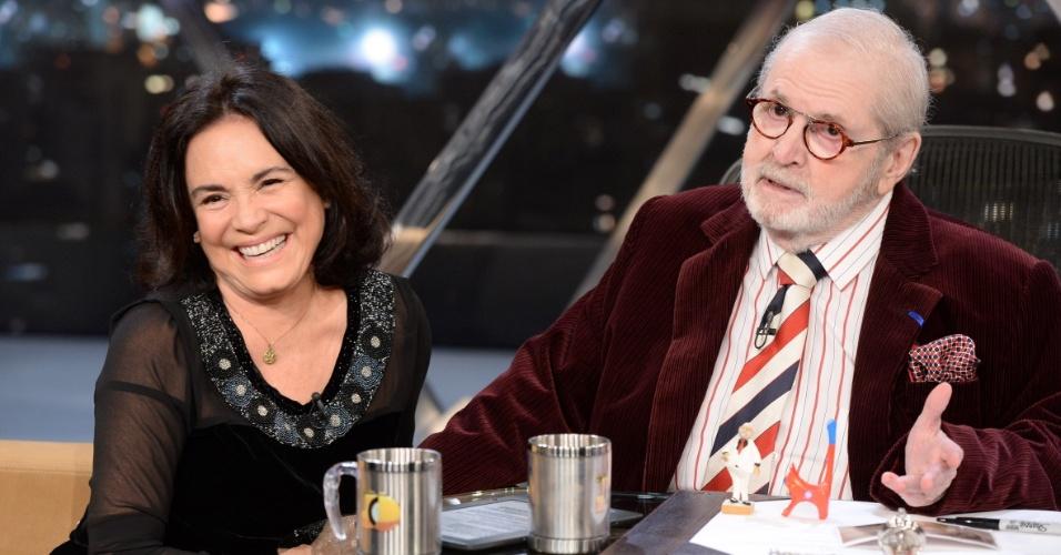 """14.mai.2014 - Regina Duarte é entrevistada por Jô Soares no """"Programa do Jô"""""""