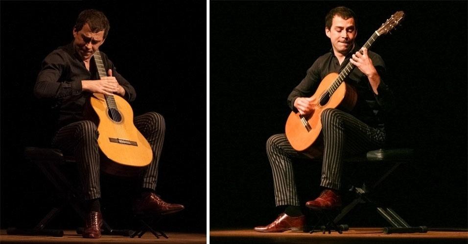 14.mai.2014 - O violonista francês Thibault Cauvin se apresenta na Aliança Francesa, no centro de São Paulo, na noite desta quarta-feira