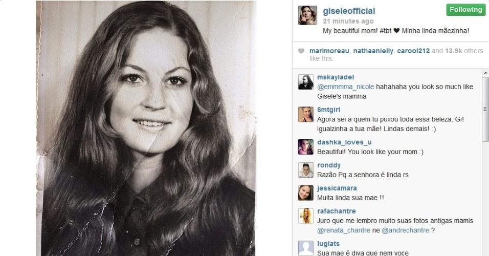 15.mai.2014 - Gisele Bündchen mostra foto da mãe na juventude