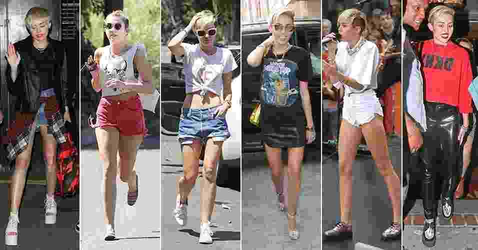 """A cantora e atriz Miley Cyrus ganhou a fama em 2006, pelo programa infanto-juvenil """"Hannah Montana"""", da Disney Channel. Ao longo dos anos, seu estilo, que antes podia ser definido como """"garota comum"""", foi mudando e ficando cada vez mais sexy. Em 2012, aos 19 anos, ela emagreceu e radicalizou o visual, cortando e platinando os cabelos e passando a adotar roupas curtas, roqueiras e ousadas. A seguir, veja opções de como se inspirar em seus looks - Grosby Group"""