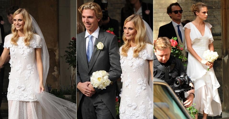 16.mai.2014 - Poppy Delevigne, irmã da top Cara Delevigne, usou um vestido branco delicado com aplicação de flores de tecido para o seu casamento. A socialite e a modelo usaram peças da grife Chanel para a ocasião