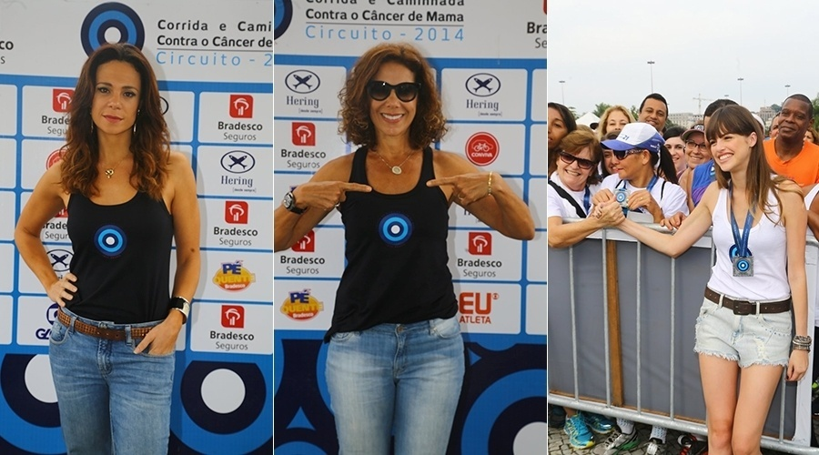 18.mai.2014 - Vanessa Gerbelli, Ângela Vieira e Agatha Moreira participaram da Corrida Contra o Câncer de Mama. O evento aconteceu no Aterro do Flamengo, no Rio