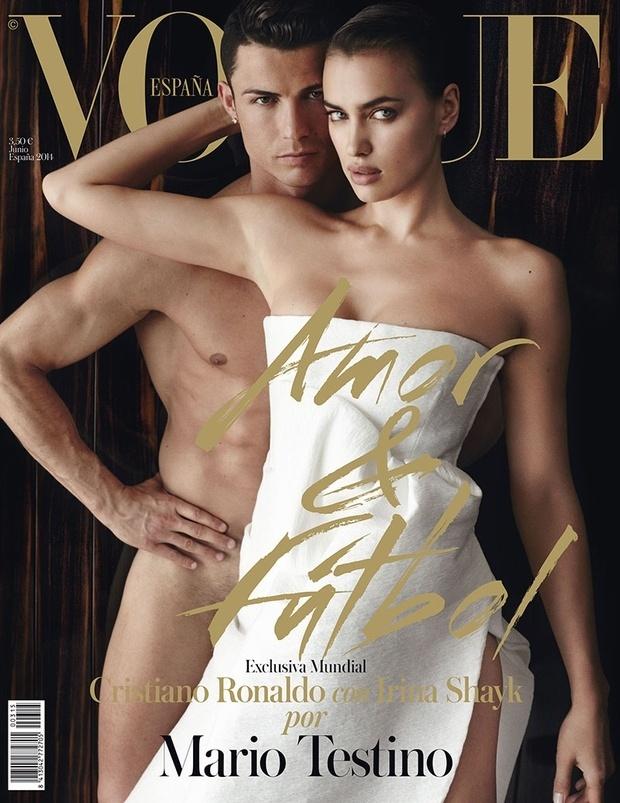 18.mai.2014 - Cristiano Ronaldo posa nu com a namorada, a modelo Irina Shayk, na capa da edição de junho da
