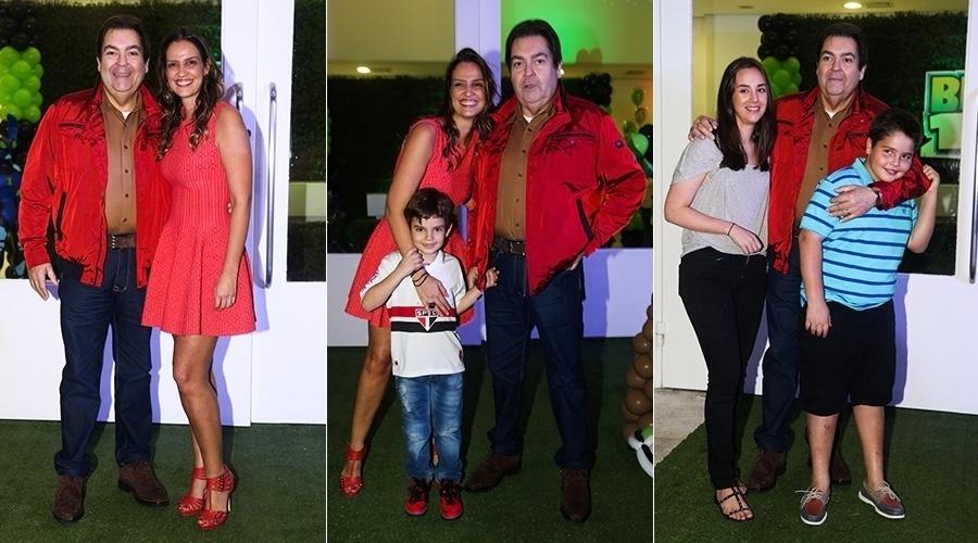 20.mai.2014 - Faustão celebrou os 6 anos do filho Rodrigo (com camisa de time de futebol) em uma casa de festas em São Paulo