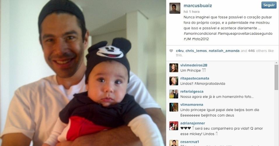 20.mai.2014 - Marcus Buaiz, marido da cantora Wanessa, mostrou um clique fofo do filho vestido como o personagem Mickey, da Disney.