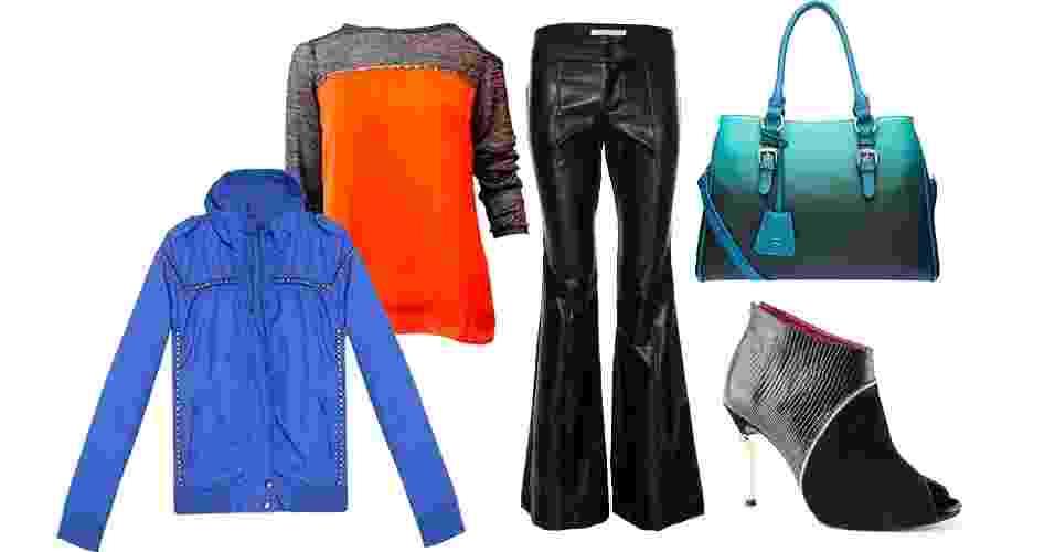 Calça de couro, jaqueta e ankle boot é um trio que vai do trabalho informal à balada. Para sair à noite, a bolsa média pode ser trocada por uma clutch - Arte/UOL