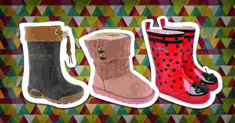 O inverno está chegando e botas e galochas se tornam peças úteis no guarda-roupa das crianças. Veja os modelos disponíveis nas lojas e escolha a que mais combina com seu filho - Arte/UOL