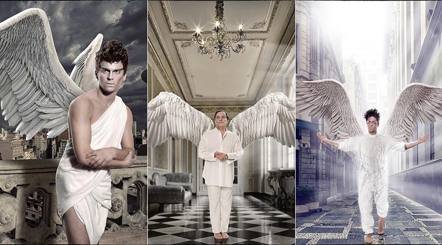 """21.mai.2014 - Felipe Selau , Ronnie Von e Thammy Miranda posaram para o livro """"Anjos"""". As fotos foram feitas por Maximo Jr e o livro tem renda revertida para a Casa Hope, que cuida de crianças com câncer"""