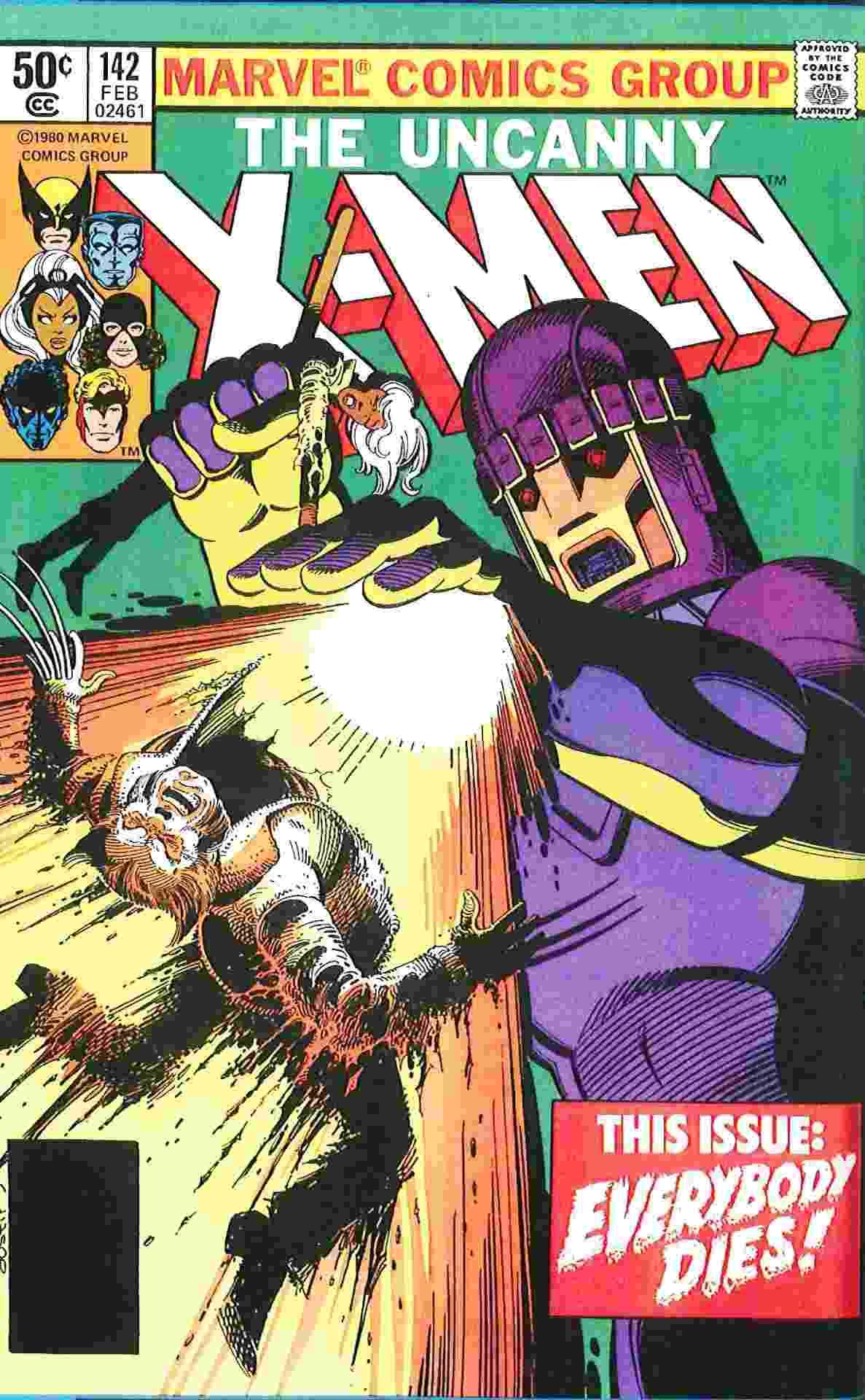 """Capa da sequência de """"X-Men: Dias de Um Futuro Esquecido"""", que mostra Tempestade e Wolverine sendo mortos pelos sentinelas - Reprodução"""