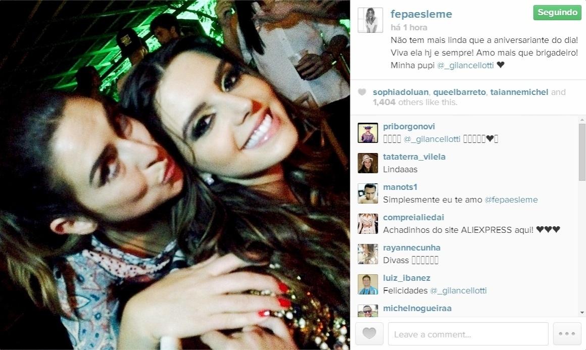 21.mai.2014 - Fernanda Paes Leme fez uma homenagem à aniversariante Giovanna Lancellotti em seu Instagram